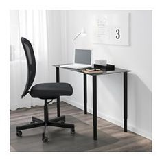 "IKEA - OLOV, Leg, adjustable, black, , You can mount the table top at a height that suits you, since the legs are adjustable between 23⅝-35⅜"".The table can be moved across the floor without worry because the plastic feet protect against scratching."