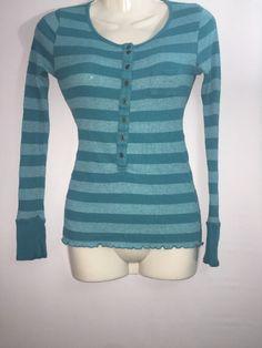 Juniors Sz XS ( Sz1) Thin Long Sleeve Stripe Top Aqua Teal By O.P. OP B22 #Op #KnitTop #Casual