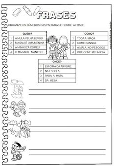 DANI EDUCAR: 2º ANO Sentence Building, A30, Sentences, Kindergarten, Classroom, Words, School, Pasta, Punctuation Activities