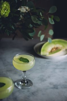 Honeydew Cucumber Gin Cocktail | 4 thin slices of cucumber 3 to 4 mint leaves 2 oz gin 1 & 1/2 oz honeydew juice 3/4 oz lemon juice 1/4 oz simple syrup
