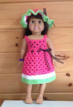Crochet Dolls Clothes Crochet sundress and hat fits Springfield Dolls Ag Doll Clothes, Doll Clothes Patterns, Doll Patterns, Crochet Patterns, American Girl Crochet, American Girl Diy, Crochet Doll Dress, Crochet Doll Clothes, Little Doll