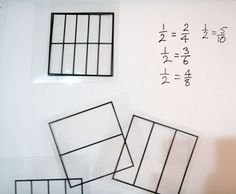 Selection of grid transparencies with one pair overlaid and equivalent fractions recorded. Fractions Year 3, Teaching Fractions, Equivalent Fractions, Maths, Math U See, Cycle 3, Home Learning, Teaching Resources, Overlays