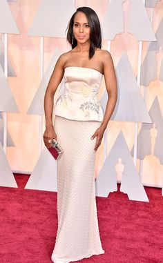2015 Oscars: Red Carpet Arrivals - Kerry Washington attends Academy Awards Ceremony in a pale pink gown designed by Miu Miu.