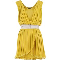 Warehouse Pleated Tunic Dress ($17) ❤ liked on Polyvore featuring dresses, vestidos, yellow, платья, women, yellow pleated dress, yellow dress, pleated dress and warehouse dresses