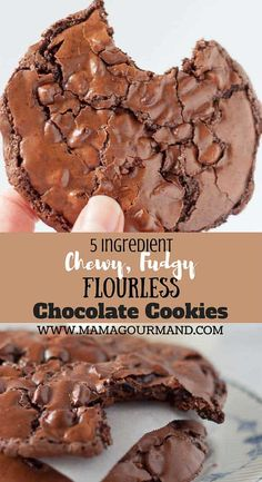 Chewy, Fudgy Flourless Chocolate Cookies are a naturally gluten free chocolate cookie and only take five ingredients to make. If you are looking for an extremely decadent, chocolate fudge cookie that tastes exactly like the Starbucks version, you have come to right place! #flourless #healthy #chocolatecookies #starbucks https://www.mamagourmand.com