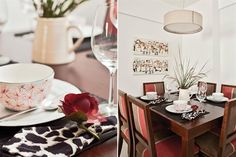 Mesa de comedor extensible con sillas de Deco al Cubo ... complementado con manteles individuales de rafia y vajilla creme brulee