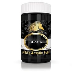 Acrylic Paint - Black - 300ml - Artist Quality Paints for Painting Canvas, Wood, Clay, Fabric, Nail Art, Ceramic