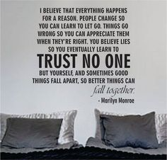 Marilyn Monroe Trust No One Quote Decal Sticker Wall Vinyl Decor Art - boop decals - vinyl decal - vinyl sticker - decals - stickers - wall decal - vinyl stickers - vinyl decals Trust No One Quotes, Quotes To Live By, No Love Quotes, Trust Issues Quotes, Inspire Quotes, Change Quotes, The Words, Wisdom Quotes, Me Quotes