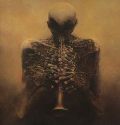 """Artwork by Zdzislaw Beksinski      """"…that last amorphous blight of nethermost confusion which blasphemes and bubbles at the centre of all infinity—the boundless daemon-sultan Azathoth, whose name no lips dare speak aloud, and who gnaws hungrily in inconceivable, unlighted chambers beyond time amidst the muffled, maddening beating of vile drums and the thin, monotonous whine of accursed flutes; to which detestable pounding and piping dance slowly, awkwardly, and absurdly the gigantic ult"""