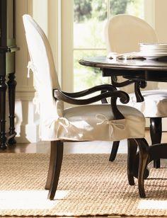 Lexington Furniture Long Cove Summerville Arm Chair W White Slipcover Black Finish Slip Covered Dining