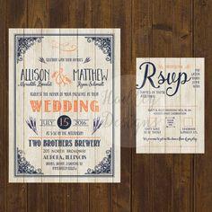 Wood wedding invitation Rustic Wedding par HadleyCustomDesigns
