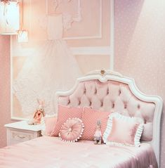 Neutrals and a variety of pink hues that contrast with your walls guarantees your girl's bedroom design will be contemporary and stylish in every way. #color #colorpalette #colorpaletteideas #colorscheme #colorschemeideas #interiorcolorpalette #interiorcolorschemes #interiorcolorpaletteideas #interiorcolorschemeideas Pink Paint Colors, Pink Color, Pale Pink, Hollywood Regency Bedroom, Pink Bedroom For Girls, Girl Bedroom Designs, Pink Walls, White Bedding, Dream Decor