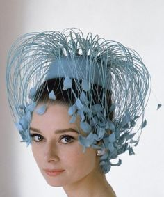 Audrey Hepburn in blue hat