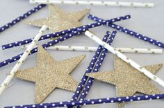 Paper straw, party for kids, star, gold