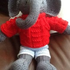 Toy knitting pattern for an elephant in a textured sweater inches tall) Julie Williams, Elephant Pictures, Little Cotton Rabbits, Little Elephant, Different Patterns, Knitting Needles, Fingerless Gloves, Arm Warmers, Easy