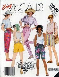 80s Sewing PATTERN McCalls 2940 Misses Shorts Capris elastic waist loose fit med #McCalls #1980s
