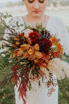 Fall bouquet with orchids and pampas, rustic and boho!