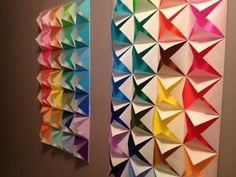 Colorful origami wall