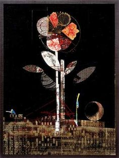 Flower with Black Background. Fred Otnes (b. 1930). Mixed media collage. Location unknown., via Flickr.