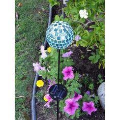 "Luna Solar Mosaic Glass Blue 4"" Ball Color Changing Multi-color Garden Decor Stake Yard Art Light"
