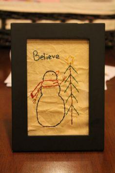 Snowman primitive stitchery Believe by SleepyCrowPrimitives, $8.00