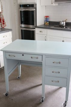 DIY: Kitchen Island from a Desk ...