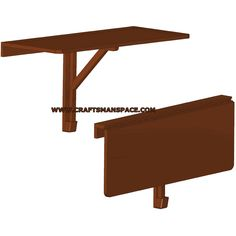 Wall-mounted drop-leaf folding table plan Brace has a pin on the top and bottom to swing instead of using an actual hinge interesting idea Drop Down Table, Fold Down Table, Drop Leaf Table, Wall Table Diy, Wall Mounted Table, Laundry Table, Laundry Room, Furniture Plans, Diy Furniture