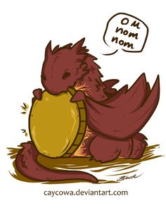 The Hobbit - Chibi Smaug On Nom Nom by caycowa on DeviantArt
