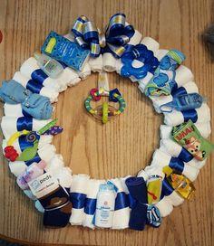 Baby boy diaper wreath for baby shower