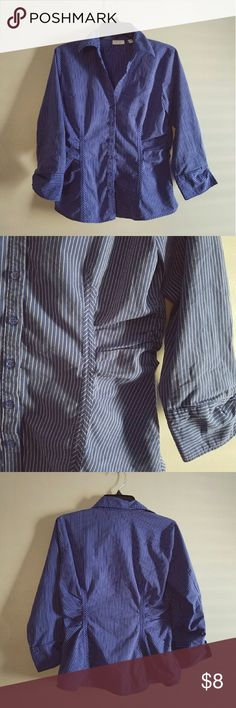 NY&CO Blue Dress Shirt New York & Company blue pinstripe button up shirt. In like new condition, never worn. Cute ruffled stitching makes the shirt a very flattering fit, extenuating the waist. Breathable, slightly stretchy material. New York & Company Tops Button Down Shirts