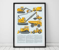 This construction truck print brings together a selection of construction vehicles into a chart for boys, based on vintage charts with information about each vehicle written below. Perfect for youn...