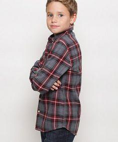 Black & Red Plaid Button-Up - Toddler & Boys #zulily #zulilyfinds