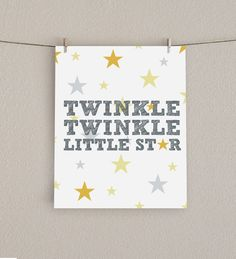 Nursery Decor Print - Twinkle, Twinkle Little Star - Yellow and Gray, 8x10. $16.00, via Etsy.