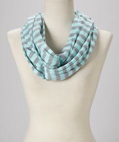 Loving this Pastel Blue & Gray Stripe Infinity Scarf on #zulily! #zulilyfinds