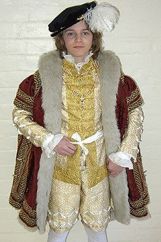 1540s costume based on portraits of Edward VI made for the Tower of London. The costume is worn by children aged 10-12 in education sessions...