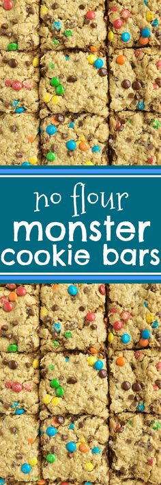 No Flour Monster Cookie Bars bake in a cookie sheet with peanut butter, oats, chocolate chips and m&m's. For a gluten-free dessert use gluten-free oats. Gluten Free Sweets, Gluten Free Cookies, Gluten Free Baking, Peanut Butter Dessert Recipes, Paleo Dessert, Dessert Bars, Dessert Ideas, Unsalted Butter, Crack Crackers