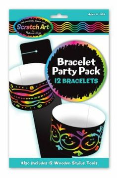 Melissa & Doug Bracelet Scratch Art Party Pack by Melissa & Doug. $6.99. Multi-pack of Scratch Art bracelets with supplies for 12 projects. Everything needed is inside. Includes 12 Scratch Art bracelets, 12 wooden stylus sticks, and instructions. Perfect for parties. Rainbow-swirl background. From the Manufacturer                Scratch Art for everybody This multi-pack is perfect for parties. Pass around the supplies and follow the simple instructions to make 12 wavy b...