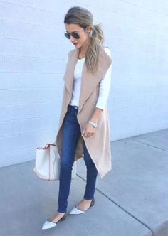 nude vest outfit- How to wear long vests http://www.justtrendygirls.com/how-to-wear-long-vests/
