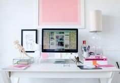 ultra feminine work space. I love all of the playful touches.