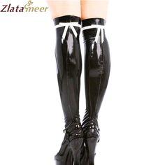 >> Click to Buy << Latex Stockings For Girls Black Bow Pattern Fetish Rubber Long Socks Handmade Women Customize Socks LA026 #Affiliate