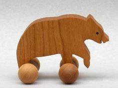 Bear Toy on Wheels Wooden Block Animal for Children Woodland Party Favor for Kids