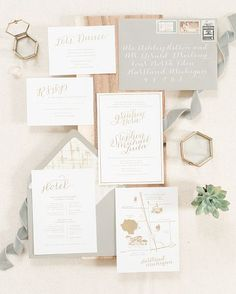 romantic gold foiled wedding suite by Paper & Honey