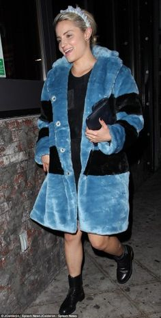 Dianna Agron wearing Saint Laurent Patti Leather Army Boots, Marc by Marc Jacobs Airglow Faux Fur Coat and Silver Spoon Attire Denim Crown Headband