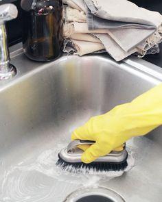 homemade abrasive scrub: 1 cup baking soda + 1/3 cup castile soap (Dr. Bronner's)