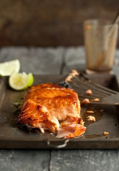 Grilled salmon with a miso honey glaze