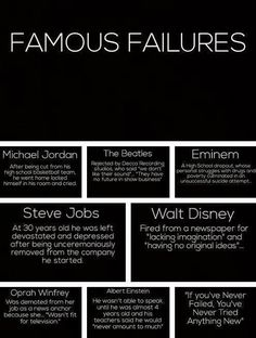 WHEN KIDS FAIL~ Remind them that even Oprah Winfrey and Albert Einstein experie. WHEN KIDS FAIL~ Remind them that even Oprah Winfrey and Albert Einstein experienced failure. Failure is just one step on the path to success! Famous Failures, Quotes To Live By, Me Quotes, Qoutes, Random Quotes, Quotable Quotes, Famous Quotes, Funny Quotes, Montag Motivation