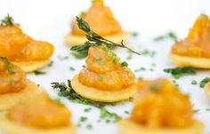 morrocan spiced chickpea cake with apricot-date chutney. wolfgang puck