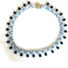 Beadweaving necklace light blue colbalt and opalite by MiSuenos, $35.00    Sooo pretty!
