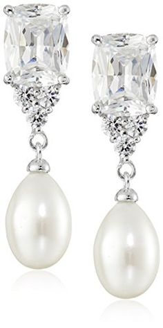 Platinum Plated Sterling Silver Cubic Zirconia Freshwater Cultured Pearl Emerald Drop Earrings ** See this great product.