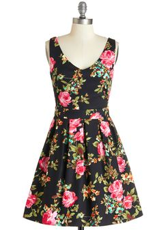 Bookmaking Brunch Dress in Black. Theres nothing you love more than crafting and cooking, so youre setting up brunch for your friends in this black floral dress!  #modcloth